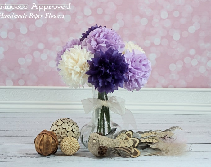 Purple & French Vanilla Tissue Paper Flower Bouquet
