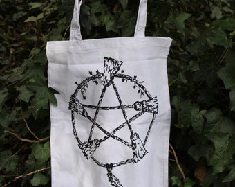 Totebag Broom pentagram, 100% cotton, for fan of pagan and wicca