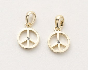 3095021 / Peace Symbol / 16k Gold Plated Brass with Cubic Zirconia Pendant 8mm Diameter / 0.3g / 2pcs