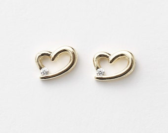 3282011 / Small Heart / 16k Gold Plated Brass Connector 8mm x 5.5mm / 0.3g / 4pcs