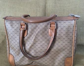 Rare vintage Gucci tan signature logo canvas and leather satchel bag purse