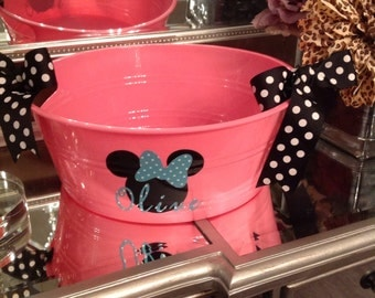 Personalized Minnie Mouse round party tub