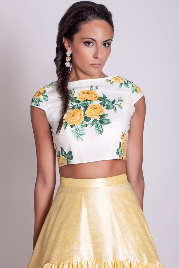 cap sleeves crop top with yellow roses floral short buttoned 117f5f015