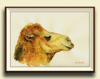 PRINT-Camel head bactrian dromedary desert animal egypt africa camel - Art Print by Juan Bosco