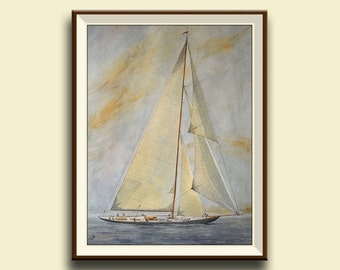 PRINT-Classic Regatta yacht sail ship - Art Print by Juan Bosco
