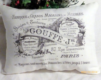 Paris pillow  - black and White - Vintage French Pillow - Decorative Throw Pillow - French Country Decor - Paris Advertising - French Ad