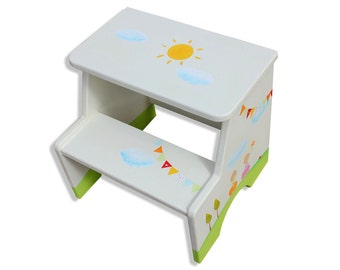 Children Furniture, Toddler Furniture, Hand Painted Furniture, Handmade Furniture, Toddler Girl Gift, Painted Step Stool, Bathroom Furniture
