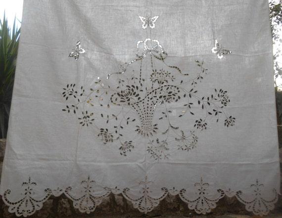 victorian richelieu lace curtain antique