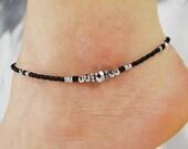 Anklet, Ankle Bracelet Metallic Silver Anklet, Black Anklet, Beaded Anklet Minimalist Anklet Crystal Anklet Summer Anklet Minimalist Jewelry