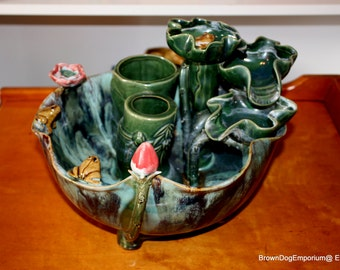 Large Asian bamboo planter // bamboo water feature // Zen water fountain // Asian decor