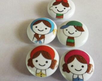 Children buttons 10 wood childrens buttons 20.0mm shank button kids buttons