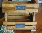 Fruit Crate- Stackable- Fruit and Vegetable Stand with chalkboard labels-Golden Oak Stained