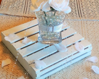 Wedding Centerpiece-Wooden Crate-Wedding Display-White-Customizable