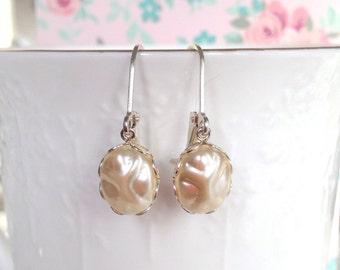 Pearl Earrings | Baroque Cream Glass Pearl | Pearl Dangle Earrings | Oval Earrings | Sterling Silver | Drop Earrings | Unique Pearl