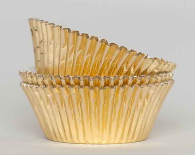 50 Gold Foil Cupcake Liners, Baking Cups, Greaseproof, Professional Grade
