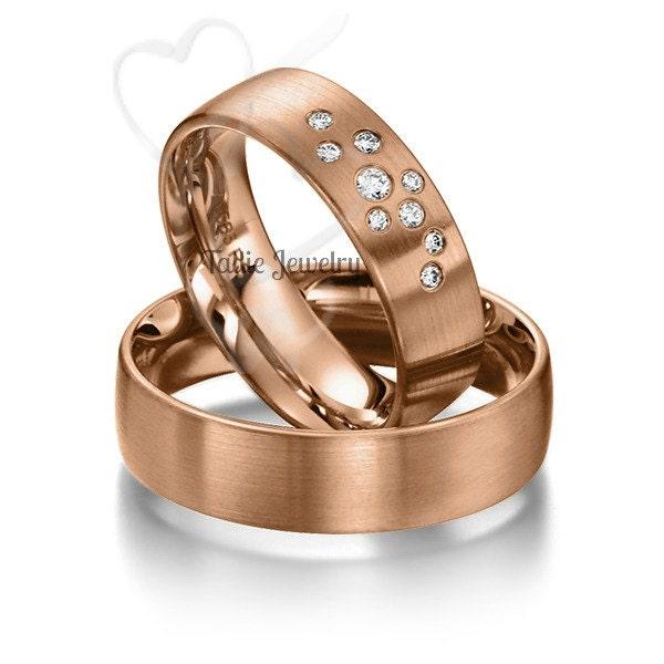 His & Hers Wedding Rings Matching Wedding Bands 14K Rose Gold Wedding Ban
