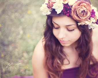 Marianne Floral Crown • Plum Floral Crown • Grapevine Floral Halo • Bohemian Crown • Fall Floral Crown • Autumn Halo | Ready To Ship