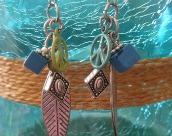 Peace on Earth Earrings - hypoallergenic