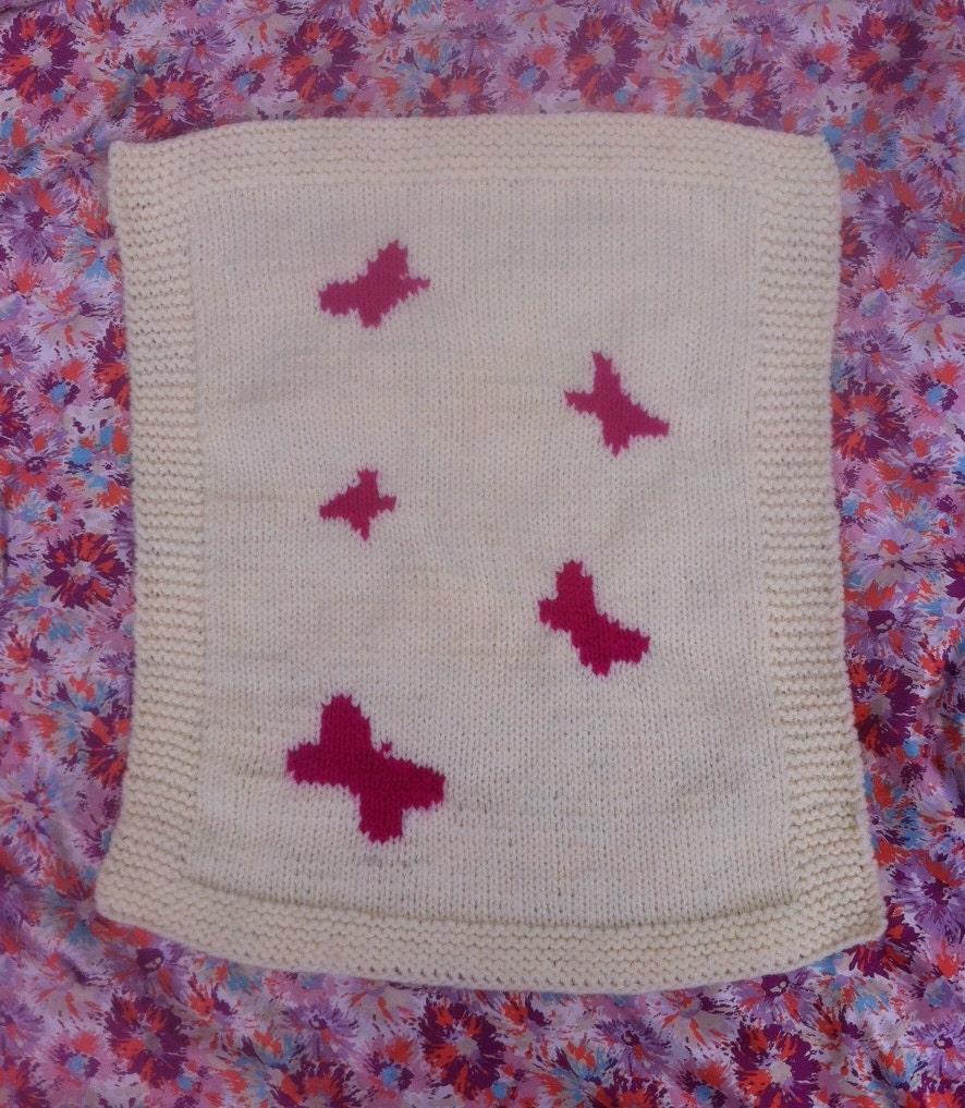 Butterfly Baby Blanket/pram cover Chunky Knitting Pattern