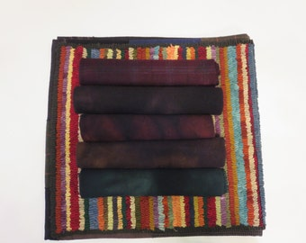 Antique blacks group 1  Hand dyed and felted wool for rug hooking and other fiber arts projects