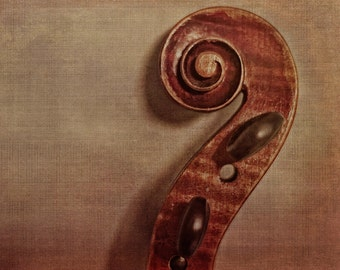 Violin Fine Art Photography Fiddle Photo Musical Instrument Music Print Classical Music Rustic Room Decor Music Lover Vilolin Scroll Gift