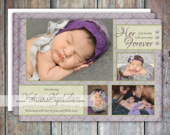 Baby Girl Birth Announcement - Garden