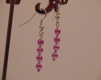 Bead earrings.Handmade earrings.Dangl earrings.Pink earrings.Womens earrings.Womens jewelry.