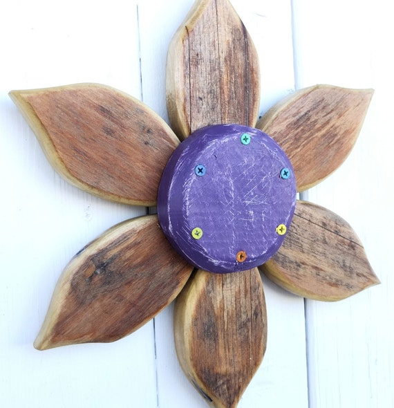 Wood Flower Wall Decor : Items similar to country wreath outdoor garden art
