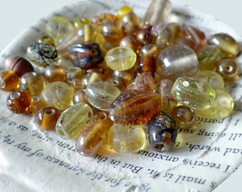 Topaz Yellow Glass Bead Mix Lot, Accent, Clear, Jewelry Making, Craft Supply, .032