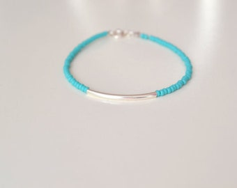Turquoise beads and sterling silver tube bracelet, Turquoise bracelet, Sterling Silver Tube Bracelet