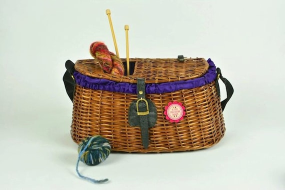 Knitting Basket Yarn : Wicker knitting basket holds yarn supplies all