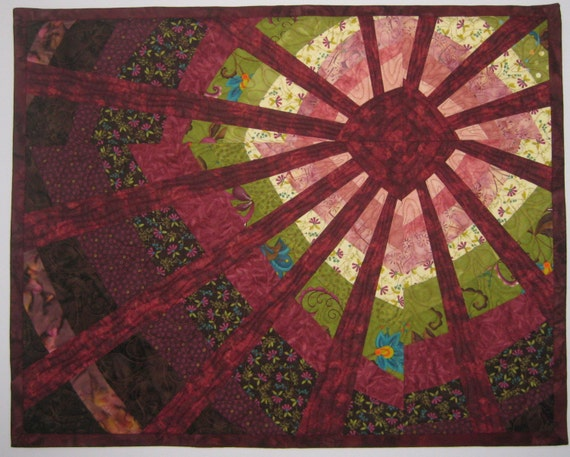 Art Quilt Sun Wonky Maroon, Quilted Wall Hanging