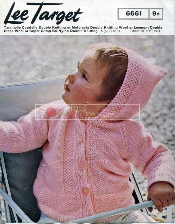 Child's Jacket with Hood DK 20-24ins Lee Target 6661 Knitting Pattern PDF instant download