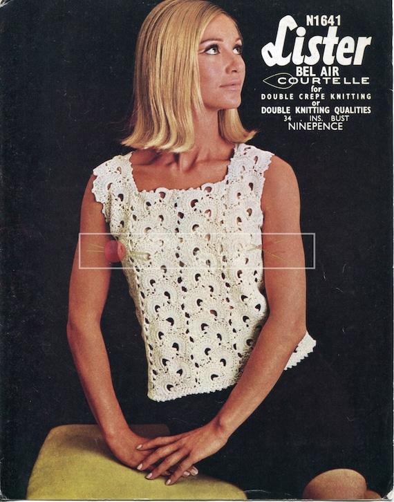 "Lady's Blouse DK 34"" Lister N1641 Crochet Pattern PDF instant download"