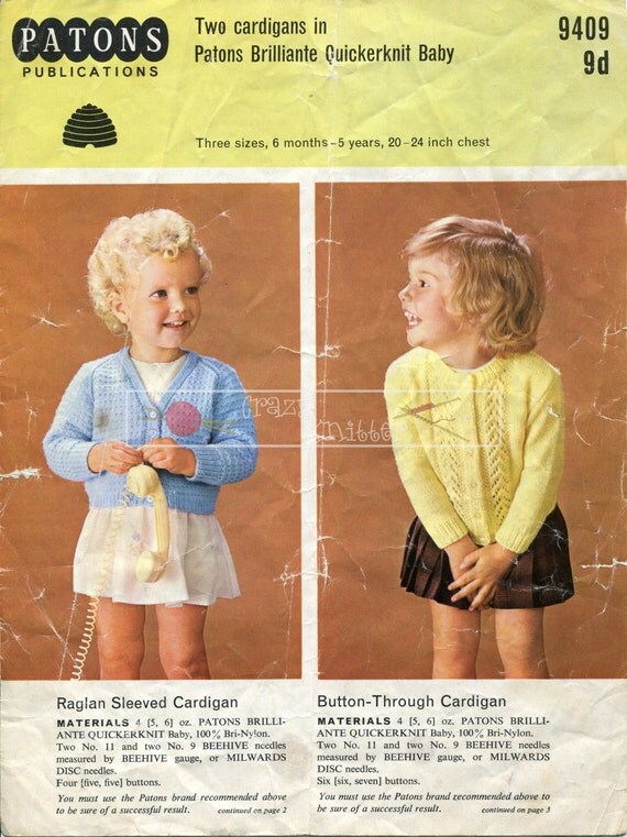Girl's Cardigans DK 20-24in Patons 9409 Knitting Pattern PDF instant download