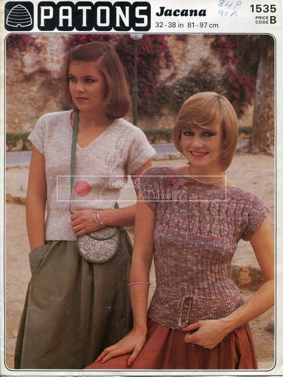 Lady's Summer Tops  DK 32-38ins Patons 1535 Vintage Knitting Pattern PDF instant download