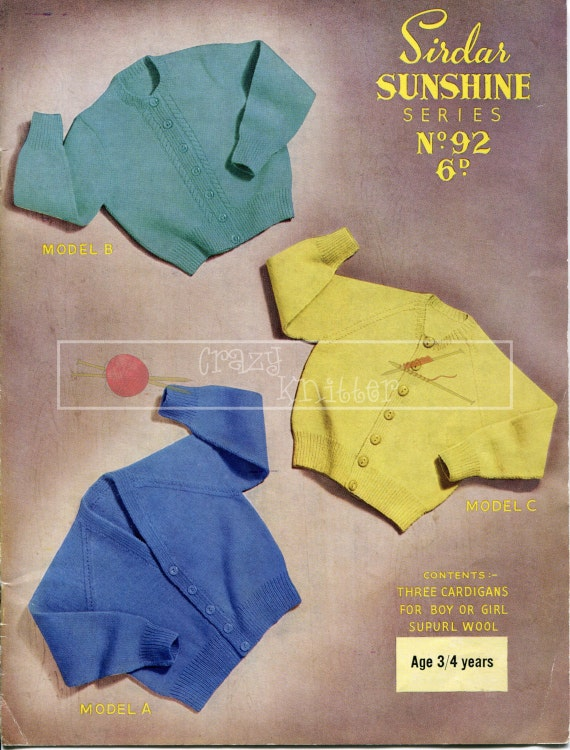 Boy's and Girl's Pullovers 3-ply 3-4 years Sirdar Sunshine Series 92 Vintage Knitting Pattern PDF instant download