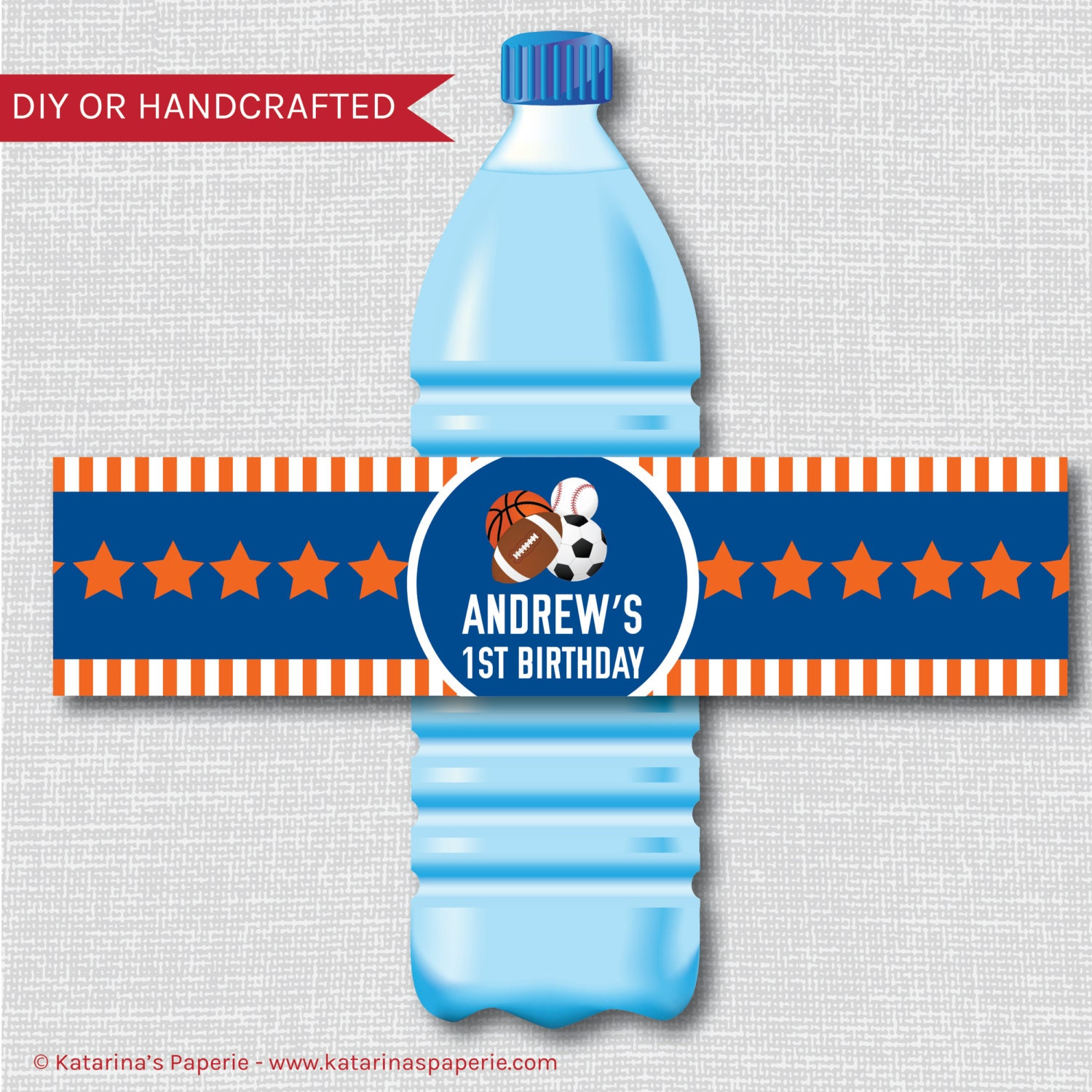 Personalized Sports Bottle Labels: All Star Sports Party Water Bottle Label Sports Birthday
