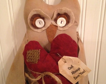 "Primitive Valentine Owl Holding a Heart with tag ""I will Owl-ways Love You"""