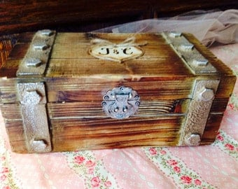 Large Rustic Wooden Card Trunk-Personalized Card Box- Wine Love Letter Ceremony- Shabby Chic and Rustic Wooden Card Box