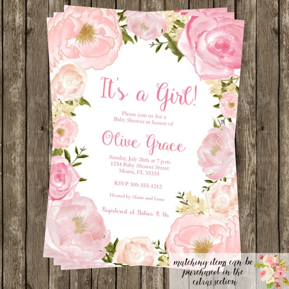 Baby Shower Flower Images ~ Watercolor floral baby shower invitation modern birthday