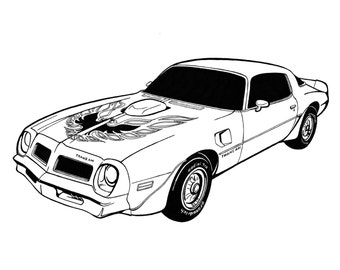 Print from my original ink drawing of a 1976 TransAm