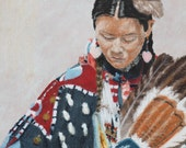 Fine Art Print from an 11x14 pastel original by me of a young Native American Shoshone Bannock  woman dancer