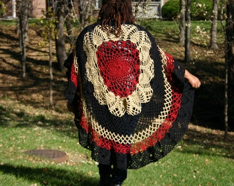 Red/Gold/Black Crochet Circle Poncho - Women's Poncho - Teen Crochet Poncho - Crochet Cover-up R813