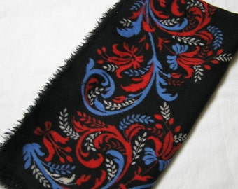 All Wool Tout Laine Vintage Vera Neumann Floral Scarf, Very Pretty with Flaws, Circa 1960s, Pretty Red & Blue Vivid Colors