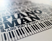 "Piano Man: typographic print (11""x14"")"
