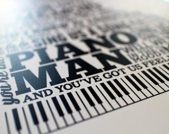 "SALE! Piano Man: typographic print (11""x14"")"