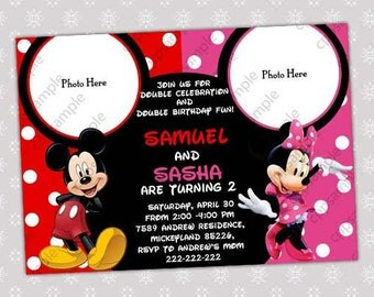 Mickey Mouse and Minnie Mouse Birthday Invitation-  Digital File