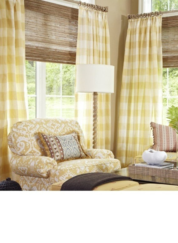 Yellow And White Check Curtains Large Check By Bellashomedecor