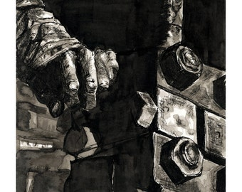 Industrial Ink Drawing Art Print - Black and White, Sketch, Hand, Machine, Giclee Art Print